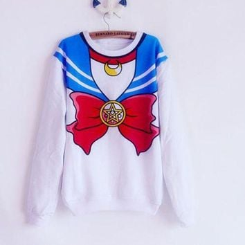 Hoodies New 2016 Sailor Moon Shirt Harajuku Kawaii Cute Fake Imitation Top Role Playing Sailor Costume Sweatshirt