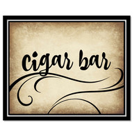 Printable rustic cigar bar Sign for wedding or event - cigar bar vintage swirly black printable download - download and print today