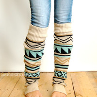 Aztec Leg Warmers  tribal print boot socks by GraceandLaceCo