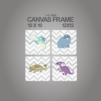 Canvas prints for nursery-Dinosaur prints on canvas set of 4 - 1-1/4'' deep frame- ready to hang