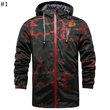 Jack wolfskin spring and autumn new windproof breathable hiking outdoor camouflage jacket #1