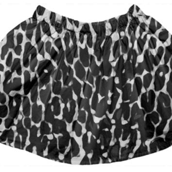 Black Leopard Abstract Girl's Skirt