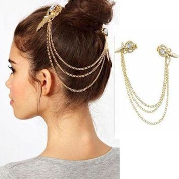 ac spbest 2017 Fashion Side clip Tassel Hair Jewelry For Women Vintage Bohemian Gold Color Head Chain Hair Accessories