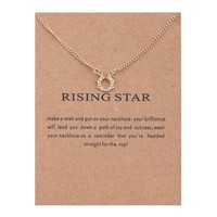Golden Stars Circle Card Alloy Clavicle Pendant Necklace  171208