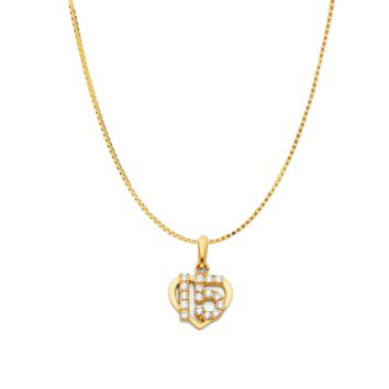 Sweet 15 Heart CZ Quinceañera Necklace - 14K Solid Yellow Gold