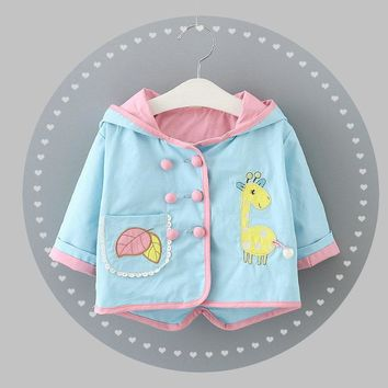Cute giraffe Baby Winter Jacket Cotton-Padded Baby Girl Outerwear Infant Parka Toddler Girls Wear Baby Coat HW1523