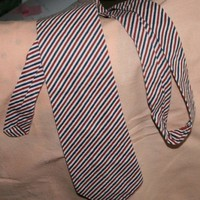 Mens Necktie with Red White and Blue Stripes in Cotton Fabric | rocksntwigs - Clothing on ArtFire