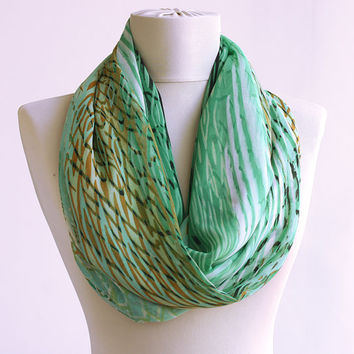 Mint green scarf, green infinity scarf , animal print scarf, tribal zebra pattern gift for women accessories loop scarf