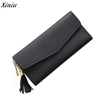 Women Simple Long Wallet Fashion Solid Tassel Coin Purse Card Holders Leather Wallet and Purse carteira feminina monedero mujer