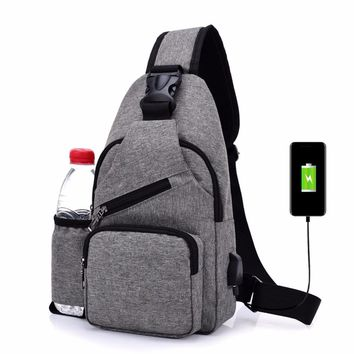 Unisex External USB Charge Chest Bags Male Men Chest Waist Pack Antitheft Travel Crossbody Bags For Men Sling Shoulder Bags 2017