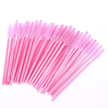 100Pcs pack Disposable Eyelash Brush Mascara Wands Applicator Wand Brushes Eyelash Comb Brushes Spoolers Makeup Tool
