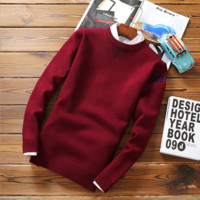 Autumn and winter men 's sweaters round neck pullovers student sweaters thin paragraph sweater men' s long - sleeved sweater