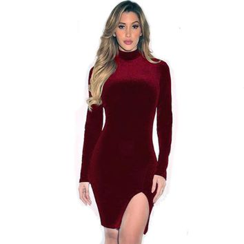 Womens Velvet Wine Winter Dress