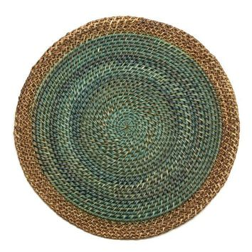 Shaded Rattan Placemat - S/2 Aqua