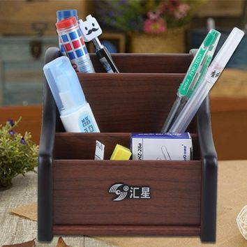 Wooden multifunctional Desk Stationery Organizer Storage Box Pen Pencil Box Holder