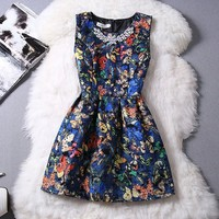 Blue Floral Butterfly Print Pleated Rhinestone Round Neck Mini Dress