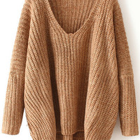 Khaki V Neck Knit Long Sleeve Sweater