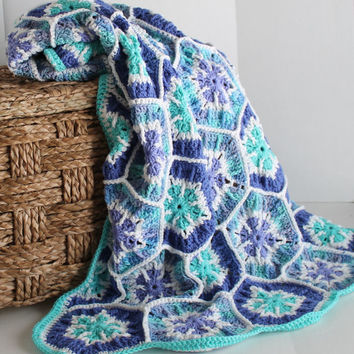Afghan- Handmade Snowflake Hexagon Crochet Blanket  - Perwinkle and Aqua
