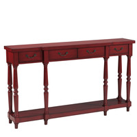 Burnt Red Four Drawer Console Table