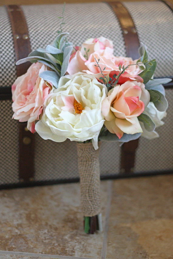 Real Touch Peonies and Roses Wedding Bouquet - Blush and Ivory Bridal Bouquet