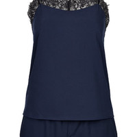 Eyelash Lace Trim Pyjama Set - Navy Blue