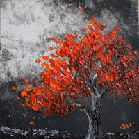 Red Tree in the Moonlight Original Oil Painting