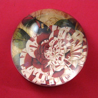 Red and White Floral Crystal Dome Paperweight June Birthday