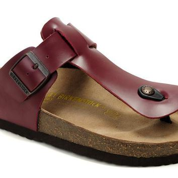 Birkenstock Medina Sandals Leather Wine-red - Ready Stock