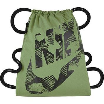 Nike Heritage Drawstring Gymsack Backpack Bag, 400 Denier Sport Bookbag (Palm Green/Black/Black)