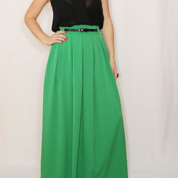 Maxi skirt Long green skirt Women skirt Chiffon skirt High waisted maxi skirt with pockets