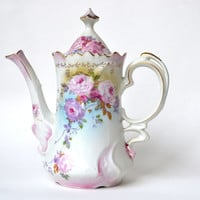 1930s Hand Painted German Porcelain Coffeepot KPM Elegant Floral Design