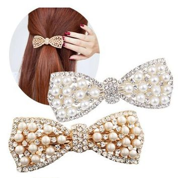 Charm Wedding Bridal Party Pearl HairPins Rhinestone Hair Clip Diamond Barrettes for Women Girls Bow Tie Shape Hair Accessories