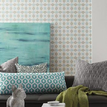 York Foxy Retro Geometric Blue Ellipse York Wallpaper
