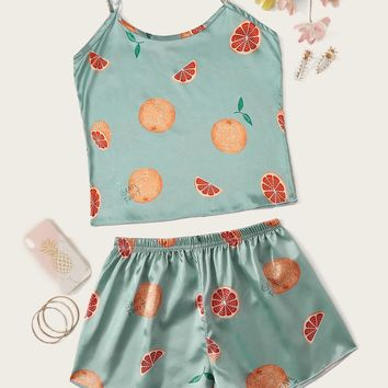 Grapefruit Print Satin Cami Pajama Set
