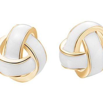 Basket Hill , Classic Gold Tone and White Enamel Knot Post Earrings