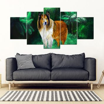 Rough Collie Art Print 5 Piece Framed Canvas- Free Shipping