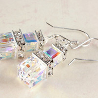 Swarovski Bridal Earrings, Crystal Cubes, Crystal AB, Sterling Silver, Wedding, Dressy