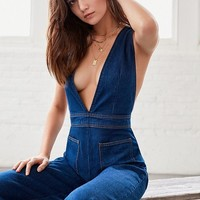 UO Eleanor Plunging Denim Jumpsuit | Urban Outfitters