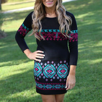 Geometric Printed Knitted Bodycon Mini Dress