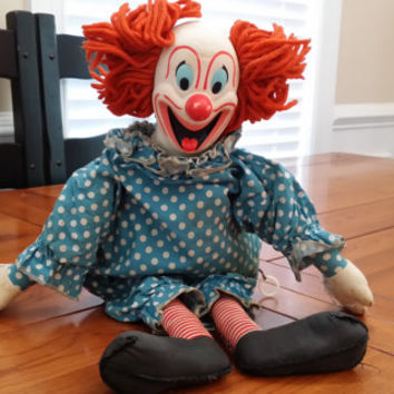 Vintage 1963 Mattel Bozo the Clown Doll With Pull String Great Retro Clown Carnival Creepy Decor