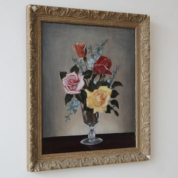 Vintage Oil Painting - Original Framed Vintage Floral Still Life Oil Painting - Roses in Vase