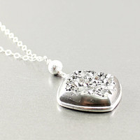 Druzy necklace - drusy agate necklace, sterling silver handmade jewelry sparkling by NatureLook, fashion for women gray grey geometric