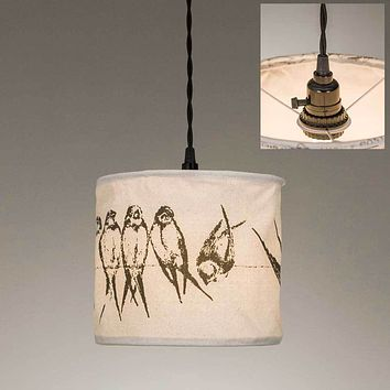 Birds on a Wire Canvas Pendant Lamp