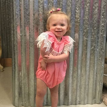 Baby & Toddler Pink and Lace Romper