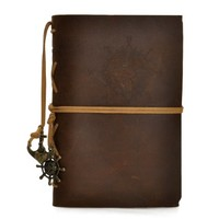 European Style Retro Handmade Refillable Leather Notebook Travelers Journal (Brown2)