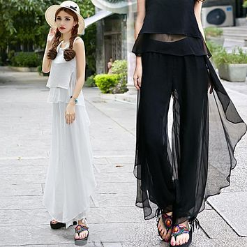 Women Chiffon Thin Loose Pants Casual Pleated Full Length Trousers Solid Color Black White Blue Elastic Waist Women Pants