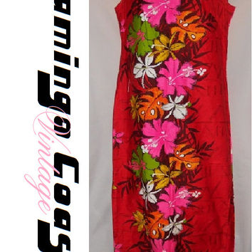 vintage 60s 70s 80s kalakaua made in hawaii red neon floral beach vacation summer dress longBrand: Stenay Petite