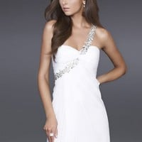A-line One-shulder White Long Length Evening Dresses 2012 (Cee0055) With Beads