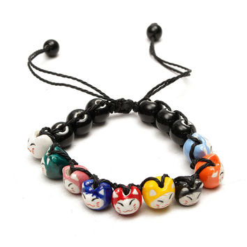 Handmade Ceramic Beads Cat String Bracelet