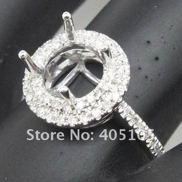 New Arrivals 7.0mm Round Shape14kt White Gold Diamond Engagement Semi Mount Ring
